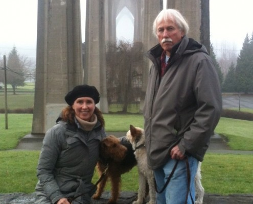 Doug Larsen with his wife Jane Terzis in Cathedral Park