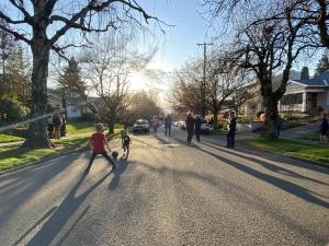 Sunny Street View of Portland Neighborhood