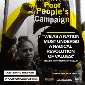 Woman Raising her Fist in front of a sign that says Poor People's Campaign