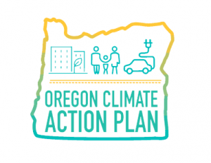 Oregon Climate Action Plan Logo: Shape of Oregon with icons in the middle