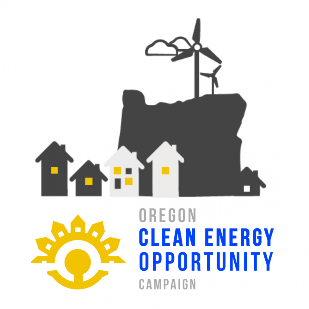 A graphic of many houses with their lights on in front of the outline of the State of Oregon. Wind turbines stick up from the top of the state, and clouds float in the background.
